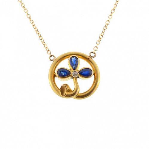 Art Nouveau 18K Gold Sapphire & Diamond Trefoil Pendant Necklace