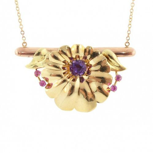 Retro 14K Rose & Yellow Gold, Amethyst & Ruby Pendant Necklace