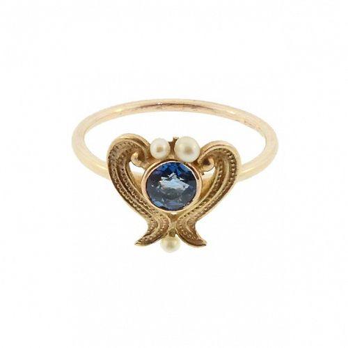 14K Gold Sapphire & Pearl Art Nouveau Conversion Ring