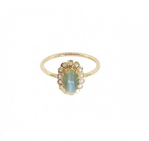 Green Cat's Eye Chrysoberyl, Pearl & 18K Gold Ring