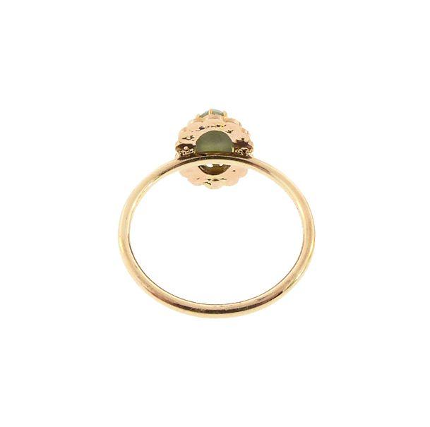 Green Cat's Eye Chrysoberyl, Pearl & 18K Gold Ring