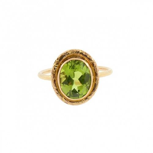 Peridot & 14K Gold Stickpin Conversion Ring