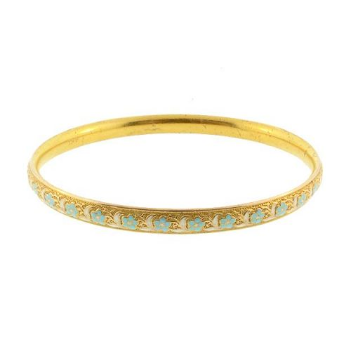 Krementz 14K Gold & Enamel Floral Bangle Bracelet