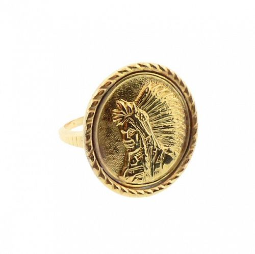 Native American Medallion 14K Gold Conversion Ring