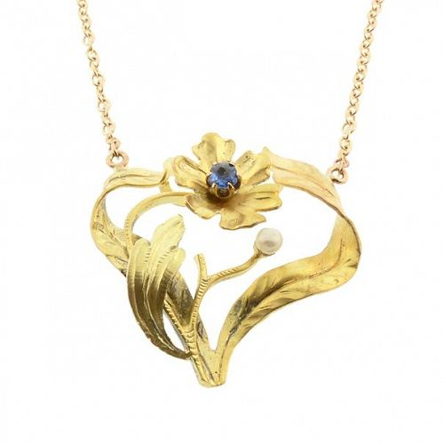 Art Nouveau Sapphire & 14K Colored Gold Floral Pendant Necklace