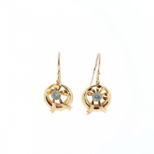 Blue Zircon & 10K Gold Retro Bow Earrings
