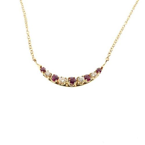 Ruby & Diamond 14K Gold Crescent Pendant Necklace