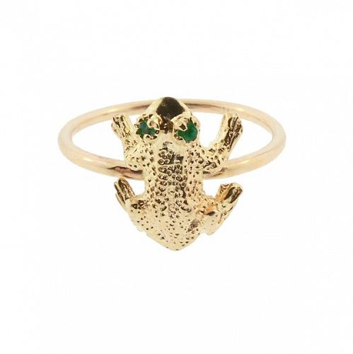 14K Gold & Emerald Frog Stickpin Conversion Ring