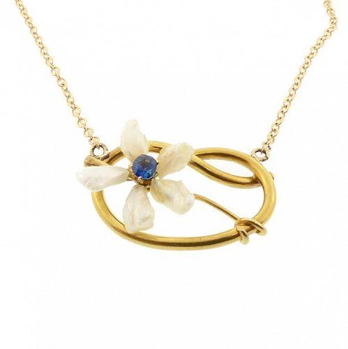 Art Nouveau 14K Sapphire & Mississippi Pearl Pendant Necklace