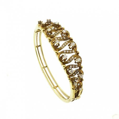 Diamond & 14K Gold Edwardian Ribbon Hinged Bangle Bracelet