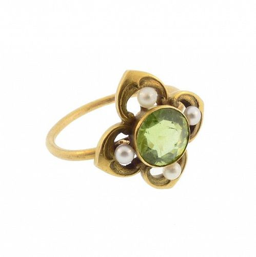 Peridot, Pearl & 14K Gold Art Nouveau Gothic Revival Conversion Ring