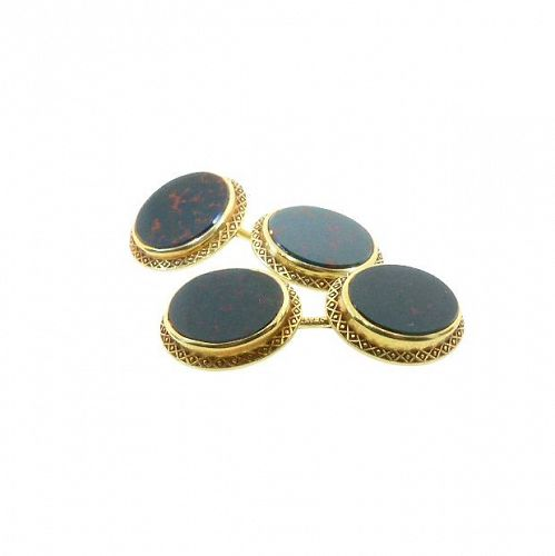Bloodstone & 14K Gold Double-Sided Victorian Cufflinks by Larter