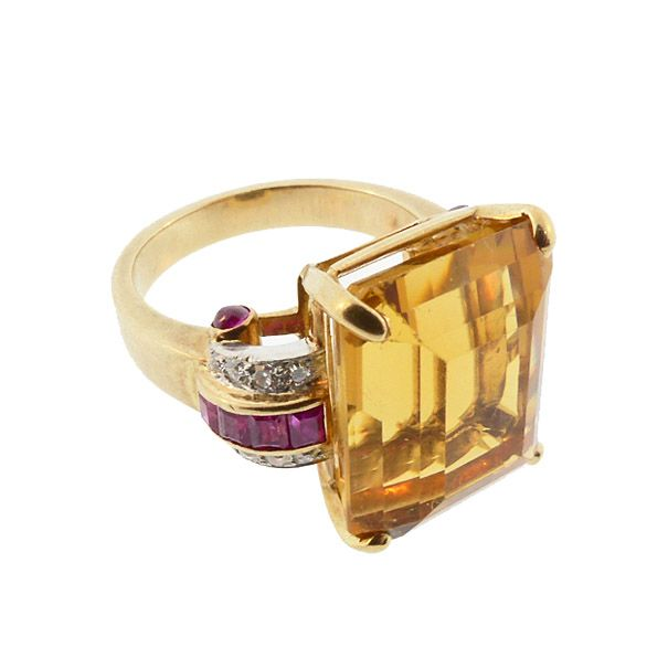 Retro Citrine Diamond Ruby 14K Gold Statement Cocktail Ring