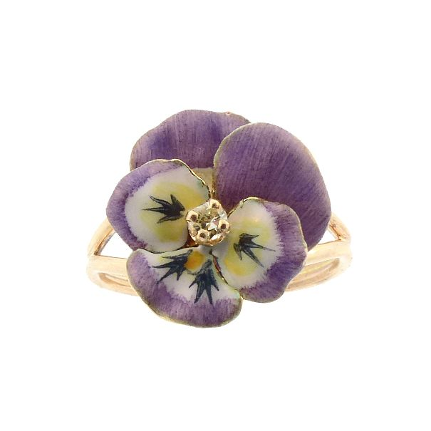 Enameled 14K Gold & Diamond Pansy Conversion Ring