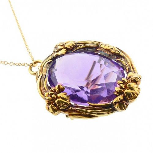 Art Nouveau 14K Gold Iris & Amethyst Pendant Necklace / Brooch