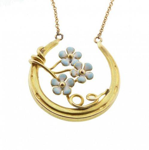 Art Nouveau 14K Gold & Enamel Good Luck Horseshoe Pendant Necklace