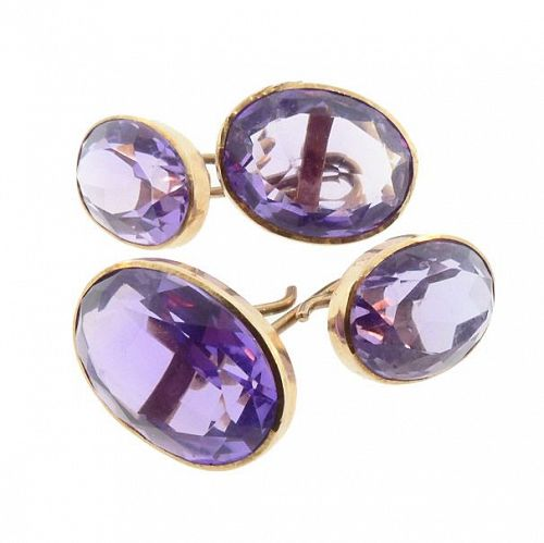 Victorian Amethyst & 10K Yellow Gold Cufflinks