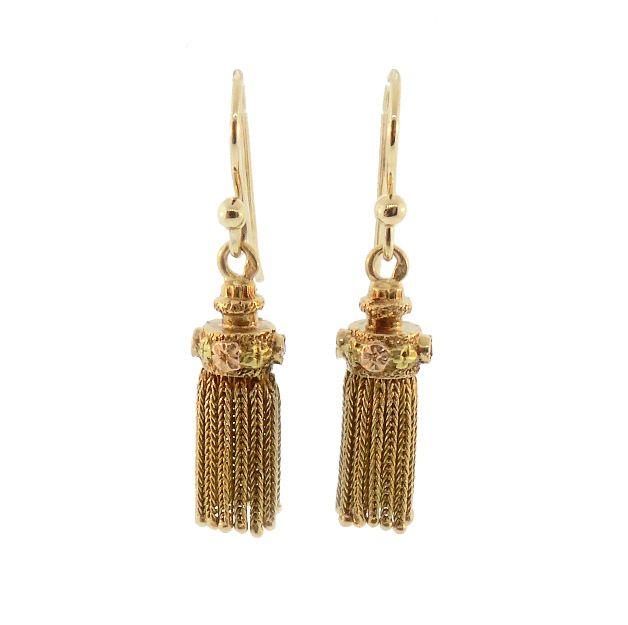 Victorian 18K Gold & Ruby Foxtail Tassel Earrings