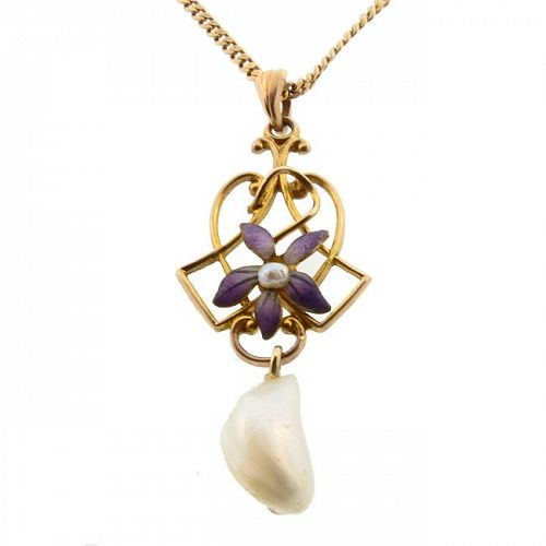 Art Nouveau 10K Gold Enamel & Pearl Pendant Necklace
