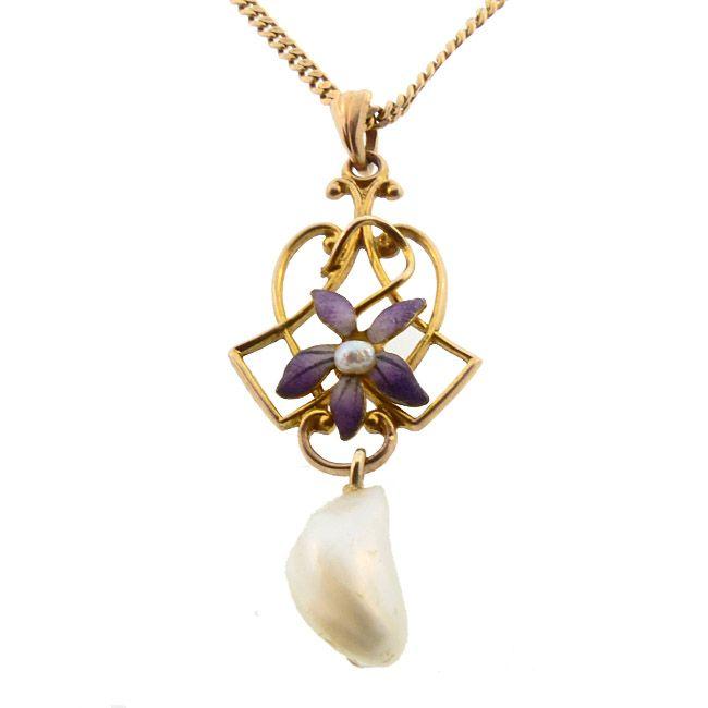 Art Nouveau 10K Gold Enamel & Pearl Pendant Necklace