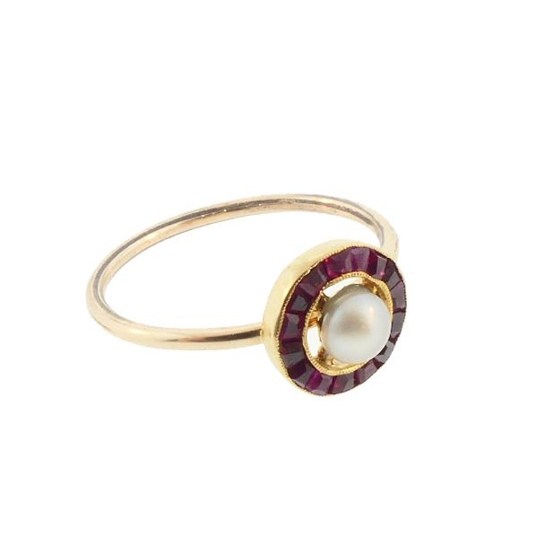 Pearl, Ruby & 18K Gold Target Conversion Ring
