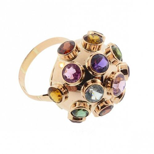 H Stern 18K Gold & Multicolored Gemstone Sputnik Ring