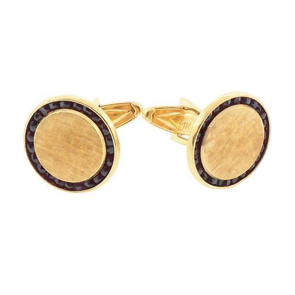 Lucien Piccard 14K Gold & Garnet Modernist Cufflinks
