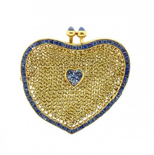 Sapphire & 18K Gold Mesh Heart Coin Purse French Art Nouveau