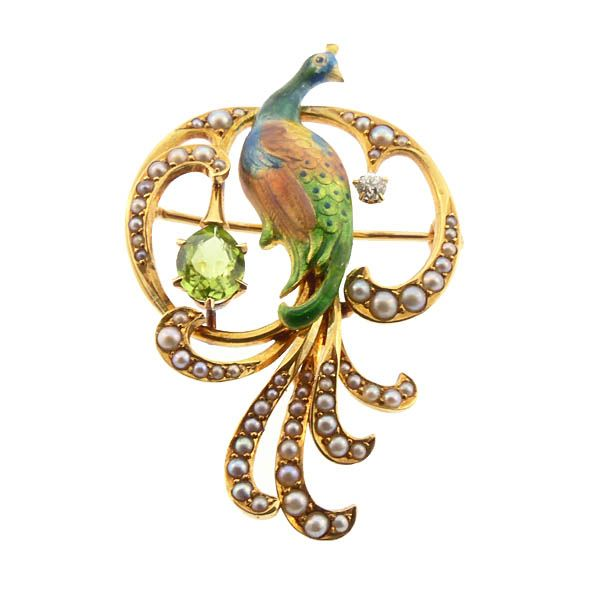 Krementz Peacock 14K Enamel Diamond Peridot Pearl Pin