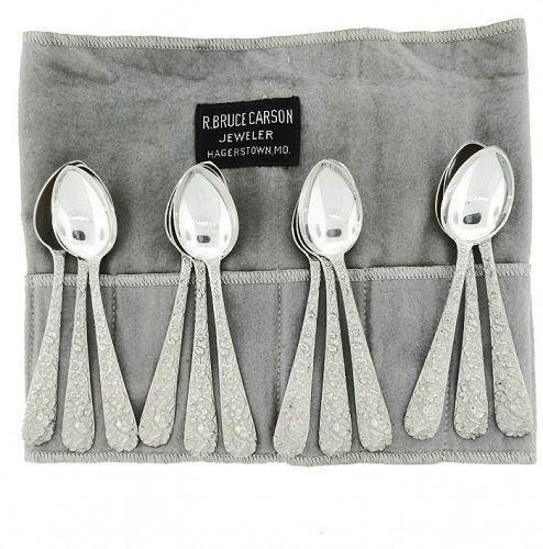 12 Kirk 1924 Repousse Sterling Silver Demitasse Spoons