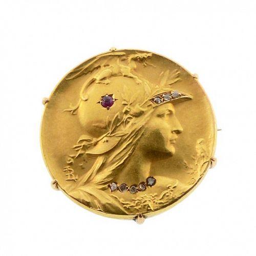 Art Nouveau Louis Rault 18K Gold, Diamond & Ruby Goddess Athena Brooch