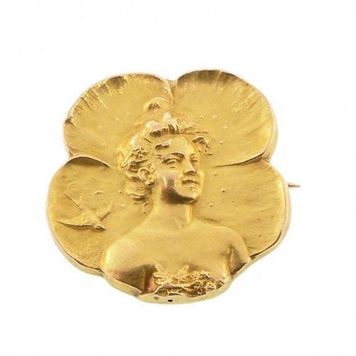 Armand Quenard 18K Gold Art Nouveau Poppy Lady Brooch