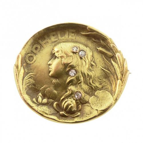 Art Nouveau 14K Gold & Diamond OPHELIA Brooch