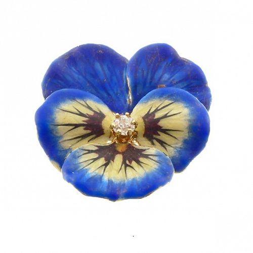 Art Nouveau 14K Gold Enamel & Diamond Pansy Brooch & Pendant