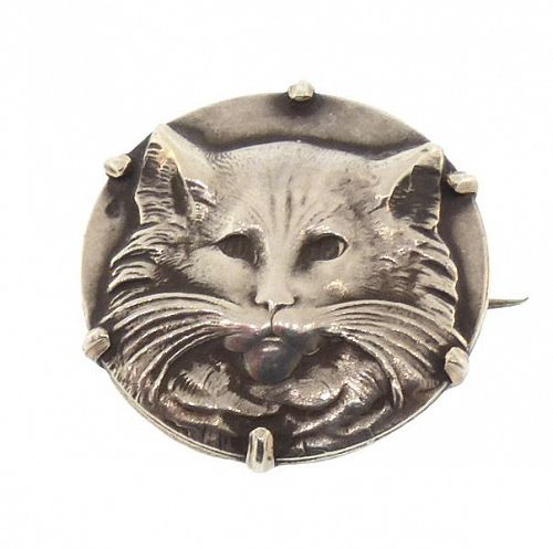 French Art Nouveau Silver Cat Brooch