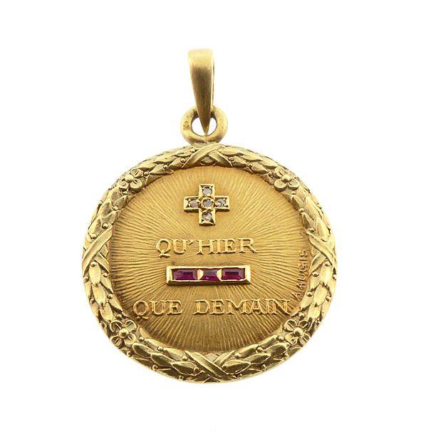 Augis French 18K Gold Diamond Ruby PLUS QU�HIER Love Token Pendant