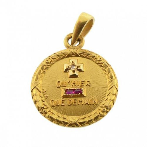 Augis French 18K Gold Diamond Ruby PLUS QU�HIER Love Token Pendant