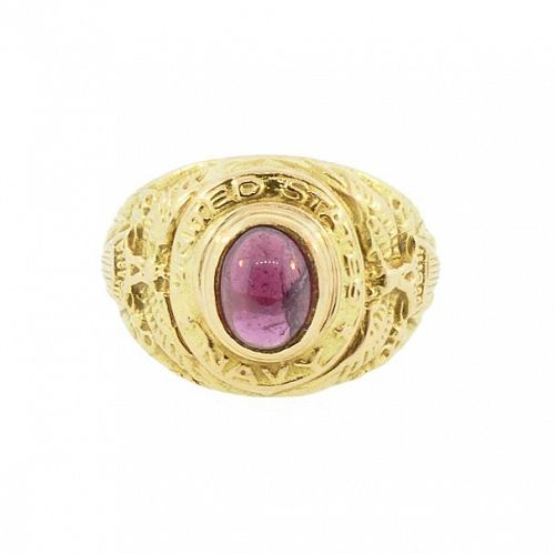 Antique 18K Gold & Garnet U.S. Navy Ring