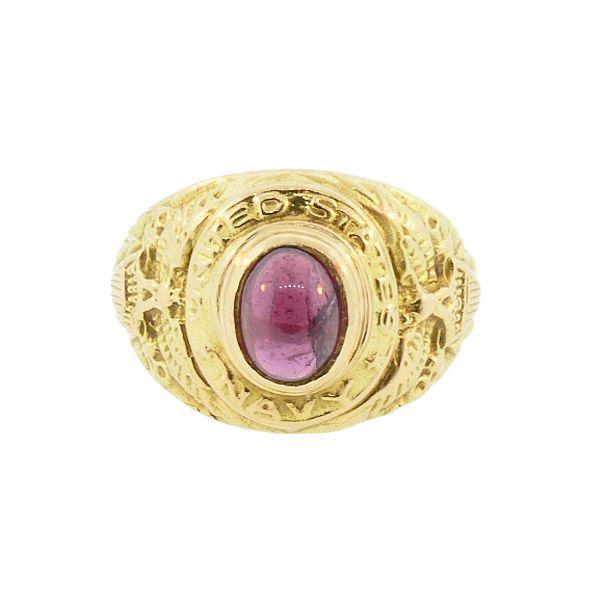 Antique 18K Gold & Garnet U.S. Navy Ring