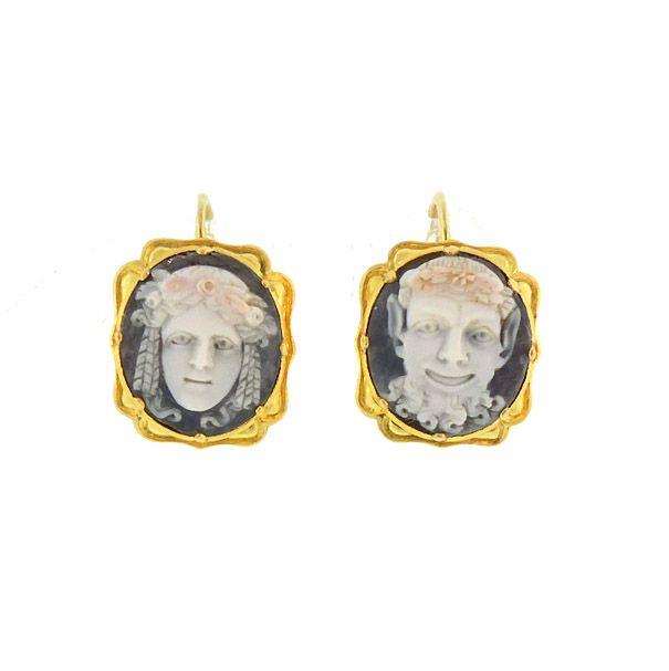 Georgian 15K Gold & Hardstone Satyr & Nymph Cameo Earrings
