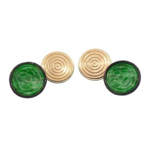 Green Jade, Black Enamel & 18K Gold Art Deco Cufflinks