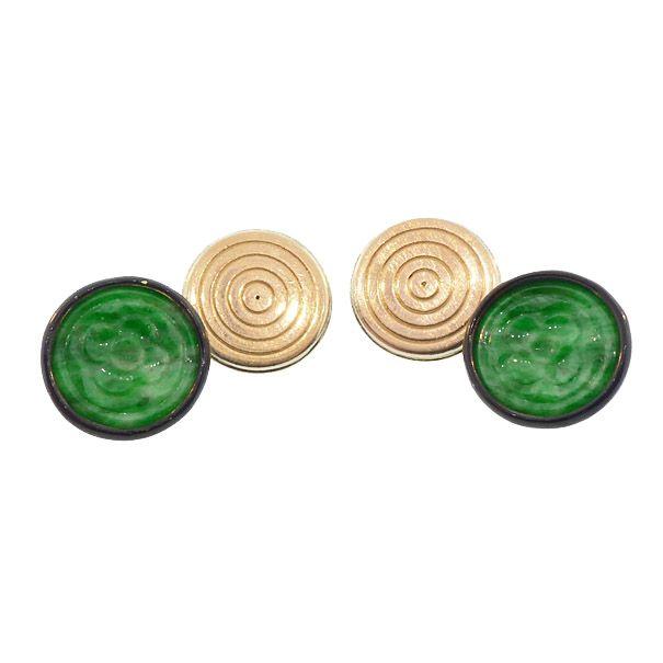 Green Jade, Black Enamel & 18K Gold Art Deco Cufflinks