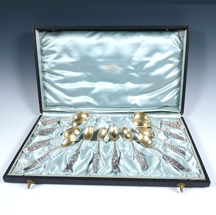 Tiffany Sterling Silver VINE Rose Demitasse Spoons Boxed Set