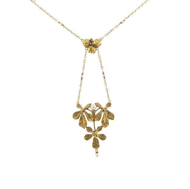 French Art Nouveau 18K Gold & Pearl Chestnut Necklace