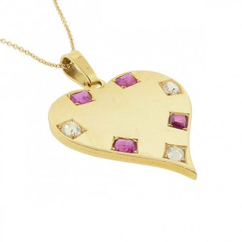 Retro 18K Gold, Ruby & Diamond Heart Pendant / Charm