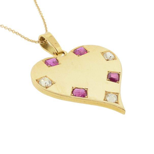Retro 18K Gold, Ruby & Diamond Heart Pendant / Charm