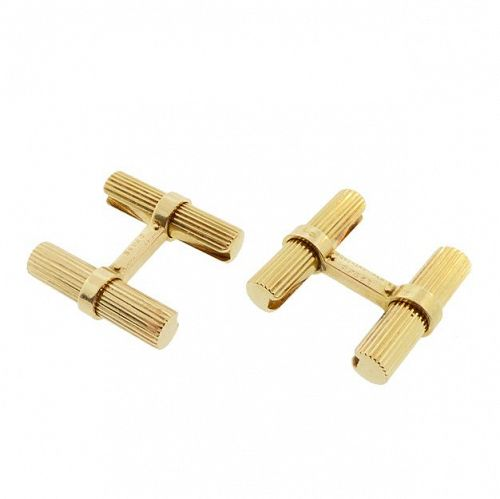 Art Deco Boucheron 18K Gold Reeded Baton Cufflinks