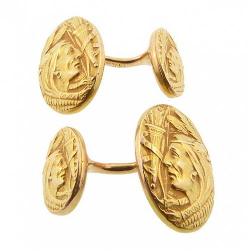 Krementz Art Nouveau 14K Gold Native American Cufflinks