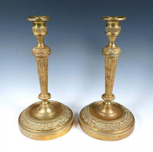 Louis XVI Style Bronze Dore Candlesticks