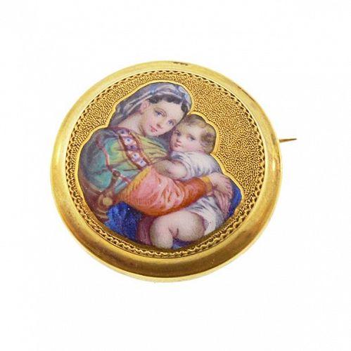 Belle Epoque 18K Gold & Shaded Enamel Raphael Madonna & Child